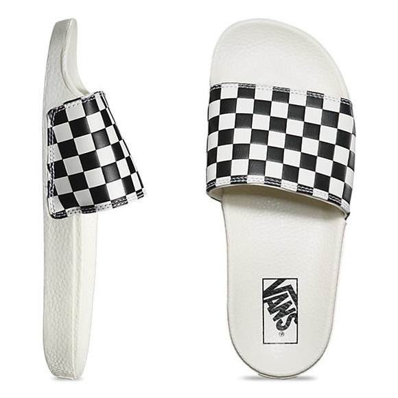 1aa1f8a65dec NWT Black and white checkerboard vans slide ons